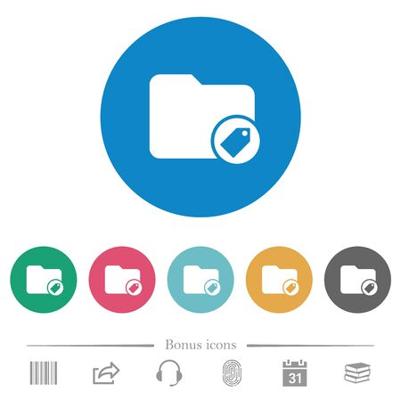 Tagging directory flat white icons on round color backgrounds. 6 bonus icons included.