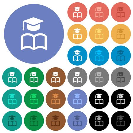 Graduation cap with book multi colored flat icons on round backgrounds. Included white, light and dark icon variations for hover and active status effects, and bonus shades. Ilustracja