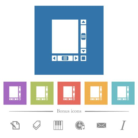 Blank document with scroll bars flat white icons in square backgrounds. 6 bonus icons included.