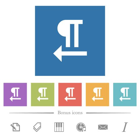 Right to left text direction flat white icons in square backgrounds. 6 bonus icons included.