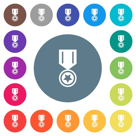 Medal with star flat white icons on round color backgrounds. 17 background color variations are included.