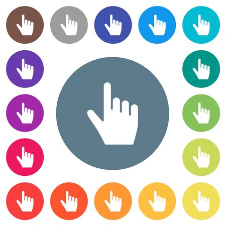 right handed pointing gesture flat white icons on round color backgrounds. 17 background color variations are included.