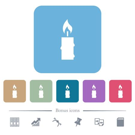 Burning candle with melting wax white flat icons on color rounded square backgrounds. 6 bonus icons included Ilustrace