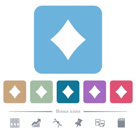 Diamond card symbol white flat icons on color rounded square backgrounds. 6 bonus icons included