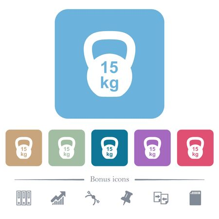 Kettlebel 15 Kg white flat icons on color rounded square backgrounds. 6 bonus icons included