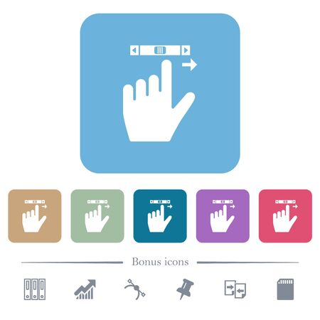 left handed scroll right gesture white flat icons on color rounded square backgrounds. 6 bonus icons included Ilustrace
