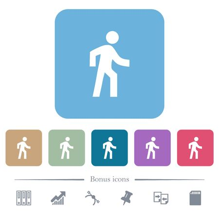 Man walking right white flat icons on color rounded square backgrounds. 6 bonus icons included