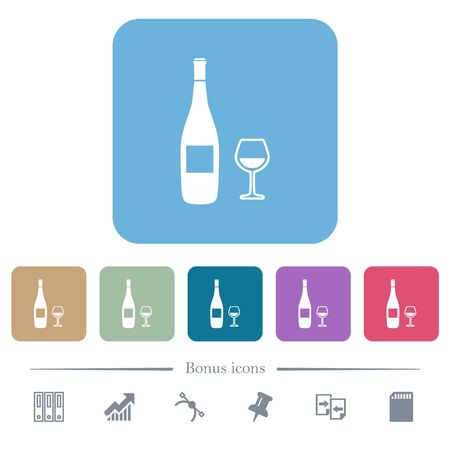 Wine bottle and glass white flat icons on color rounded square backgrounds. 6 bonus icons included Ilustrace