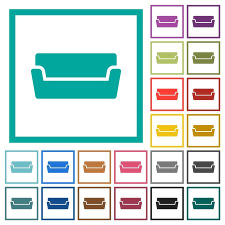 Couch flat color icons with quadrant frames on white background