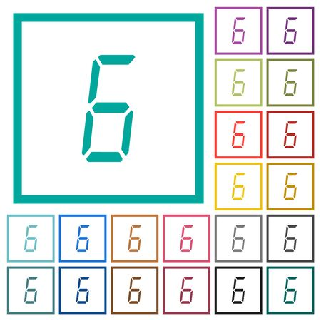 digital number six of seven segment type flat color icons with quadrant frames on white background