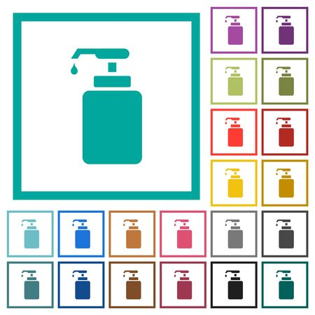 Liquid soap flat color icons with quadrant frames on white background