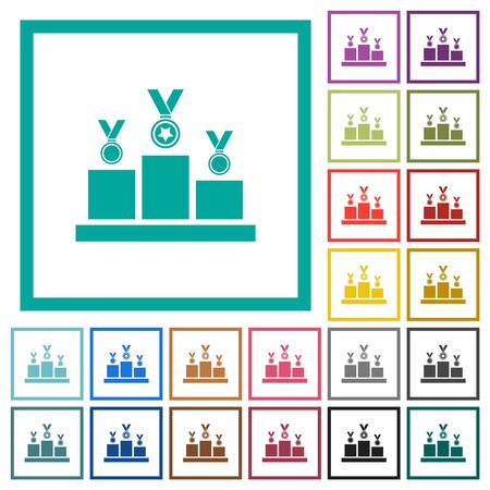 Winner podium with awards flat color icons with quadrant frames on white background