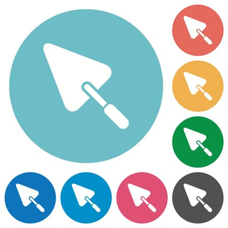Trowel flat white icons on round color backgrounds Vector Illustration