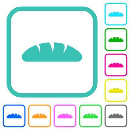 Bread vivid colored flat icons in curved borders on white background