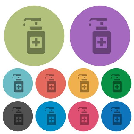 Hand sanitizer darker flat icons on color round background