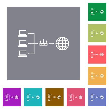 Network address translation flat icons on simple color square backgrounds Illustration