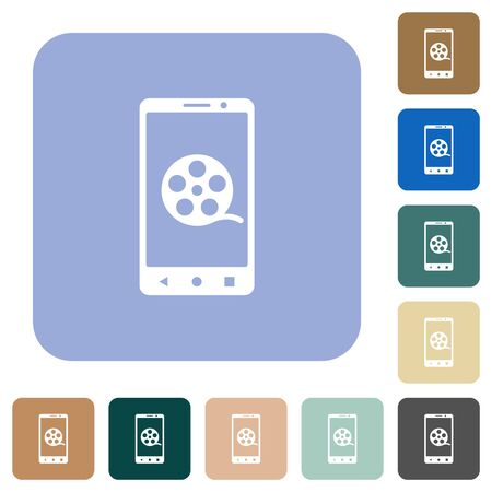 Mobile movie white flat icons on color rounded square backgrounds