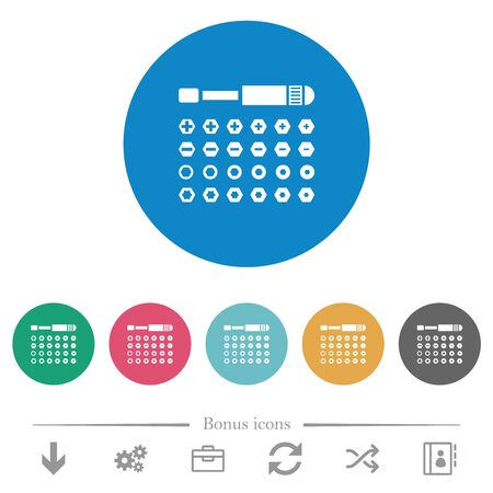 Set of screwdriver bits flat white icons on round color backgrounds. 6 bonus icons included.