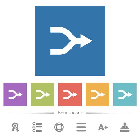 Merge arrows right flat white icons in square backgrounds. 6 bonus icons included.