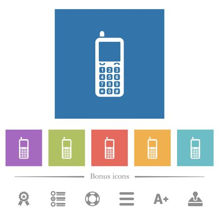 Retro mobile phone flat white icons in square backgrounds. 6 bonus icons included.