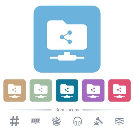 FTP share white flat icons on color rounded square backgrounds. 6 bonus icons included