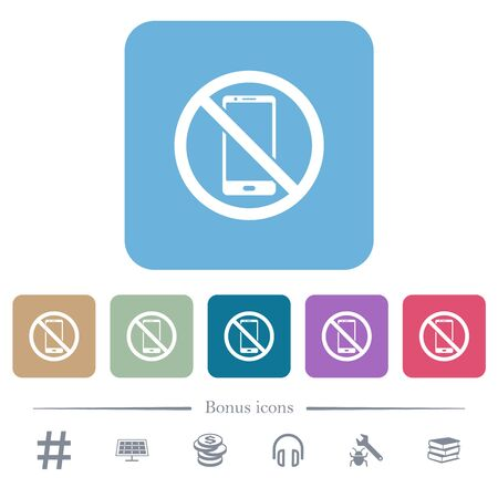 No smartphone white flat icons on color rounded square backgrounds. 6 bonus icons included