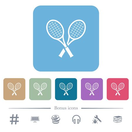 Two tennis rackets white flat icons on color rounded square backgrounds. 6 bonus icons included