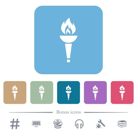 Torch white flat icons on color rounded square backgrounds. 6 bonus icons included