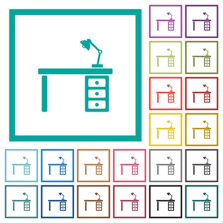 Desk with lamp flat color icons with quadrant frames on white background