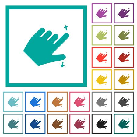 Left handed pinch open gesture flat color icons with quadrant frames on white background