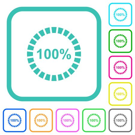 100 percent loaded vivid colored flat icons in curved borders on white background