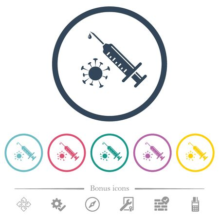 Antiviral injection flat color icons in round outlines. 6 bonus icons included.  イラスト・ベクター素材