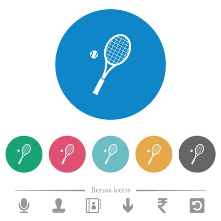 Tennis racket with ball flat white icons on round color backgrounds. 6 bonus icons included. 向量圖像