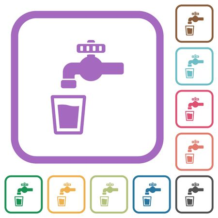 Drinking water simple icons in color rounded square frames on white background Vector Illustration