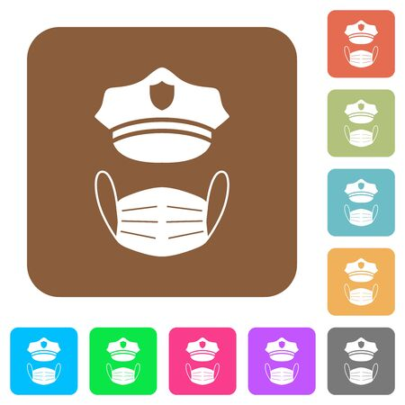 Police hat and medical face mask flat icons on rounded square vivid color backgrounds.
