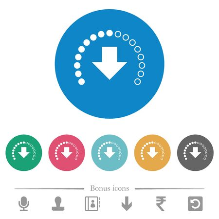 Download in progress flat white icons on round color backgrounds. 6 bonus icons included. 向量圖像