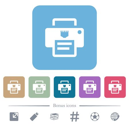 IP printer white flat icons on color rounded square backgrounds. 6 bonus icons included