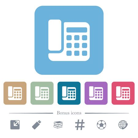 Office phone white flat icons on color rounded square backgrounds. 6 bonus icons included