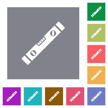 Spirit level flat icons on simple color square backgrounds
