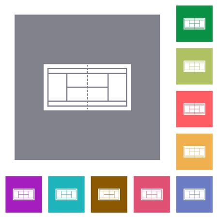 Tennis court flat icons on simple color square backgrounds