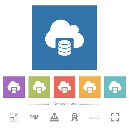 Cloud database flat white icons in square backgrounds. 6 bonus icons included.