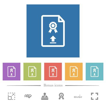 Upload certificate flat white icons in square backgrounds. 6 bonus icons included. Ilustração