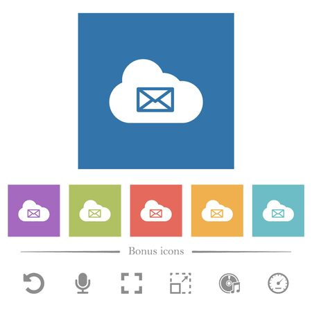 Cloud mail system flat white icons in square backgrounds. 6 bonus icons included.