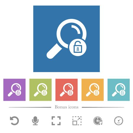 Unlock search flat white icons in square backgrounds. 6 bonus icons included.