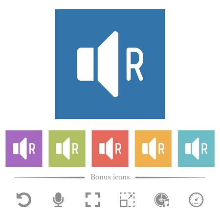 Right audio channel flat white icons in square backgrounds. 6 bonus icons included.