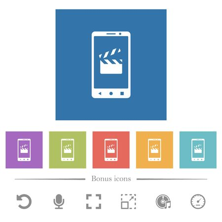 Smartphone film cut flat white icons in square backgrounds. 6 bonus icons included.