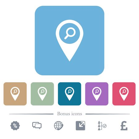 Find GPS map location white flat icons on color rounded square backgrounds. 6 bonus icons included