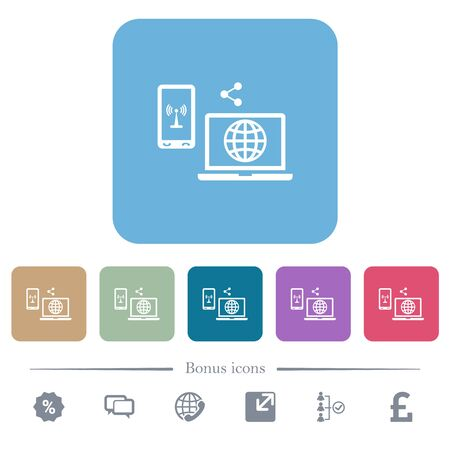 Share mobile internet white flat icons on color rounded square backgrounds. 6 bonus icons included Illustration