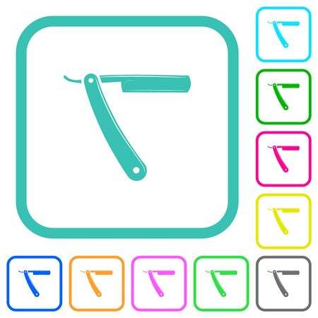 Straight razor vivid colored flat icons in curved borders on white background