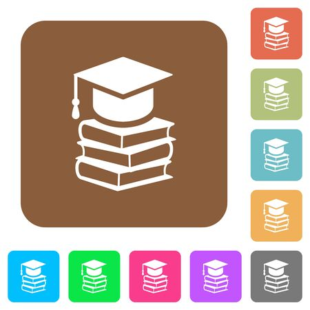 Graduation cap with books flat icons on rounded square vivid color backgrounds. 向量圖像